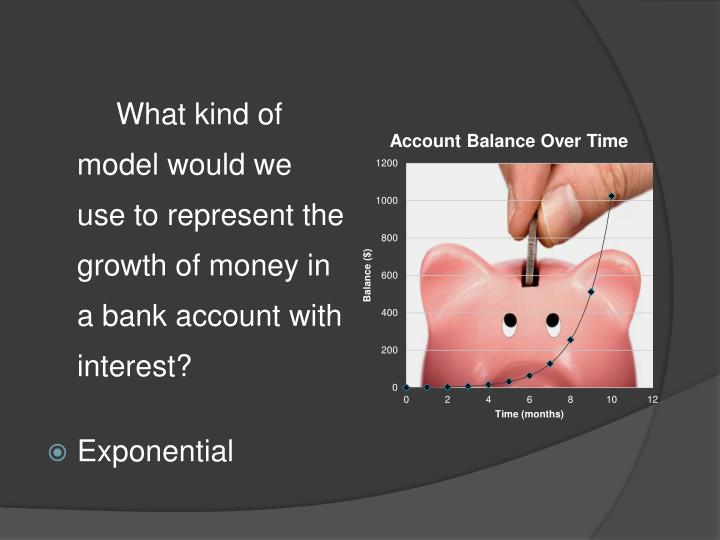 What kind of model would we use to represent the growth of money in a bank account with interest?
