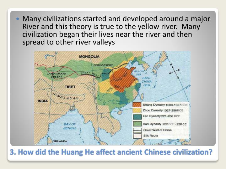 Many civilizations started and developed around a major River and this theory is true to the yellow river.  Many civilization began their lives near the river and then spread to other river valleys