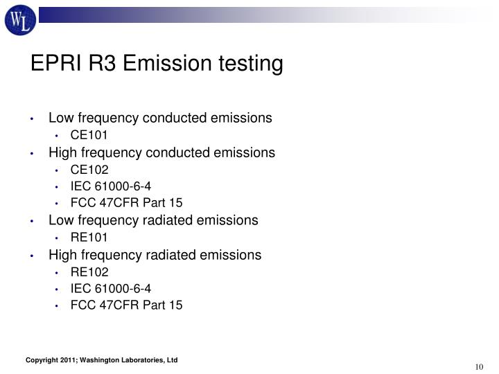 EPRI R3 Emission testing