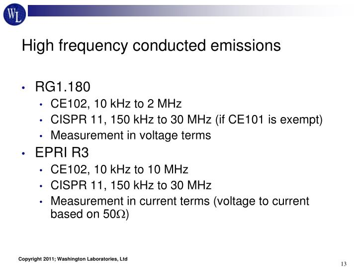 High frequency conducted emissions