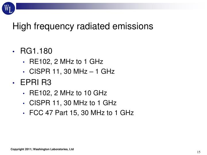 High frequency radiated emissions