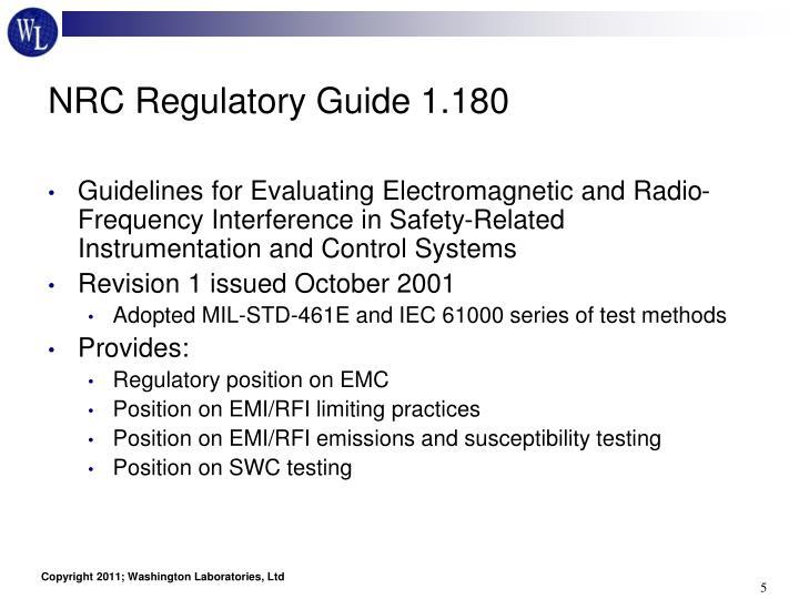 NRC Regulatory Guide 1.180