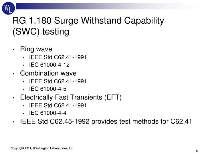 RG 1.180 Surge Withstand Capability (SWC) testing