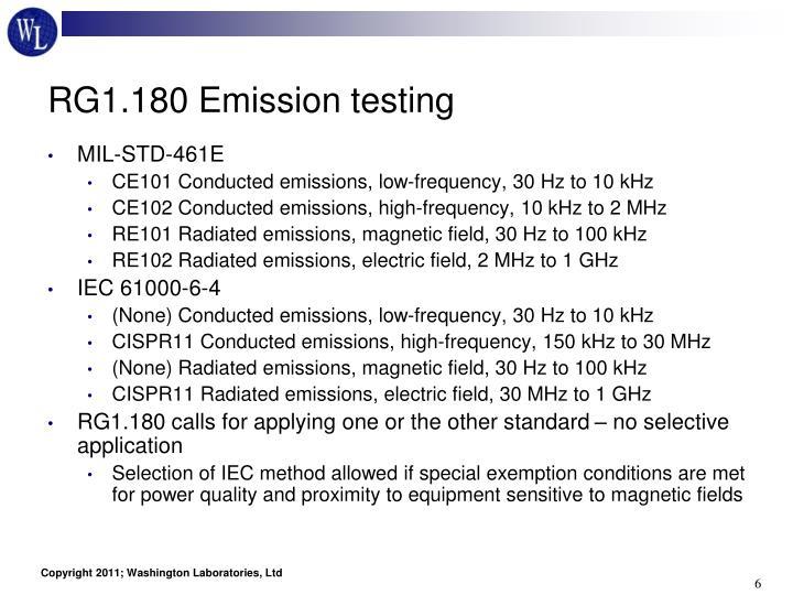 RG1.180 Emission testing