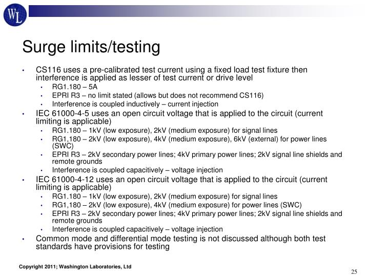 Surge limits/testing