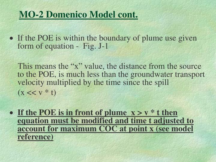 MO-2 Domenico Model cont.