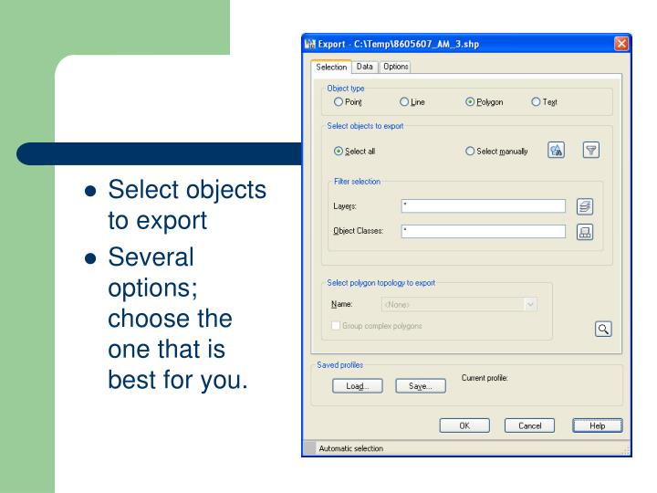 Select objects to export