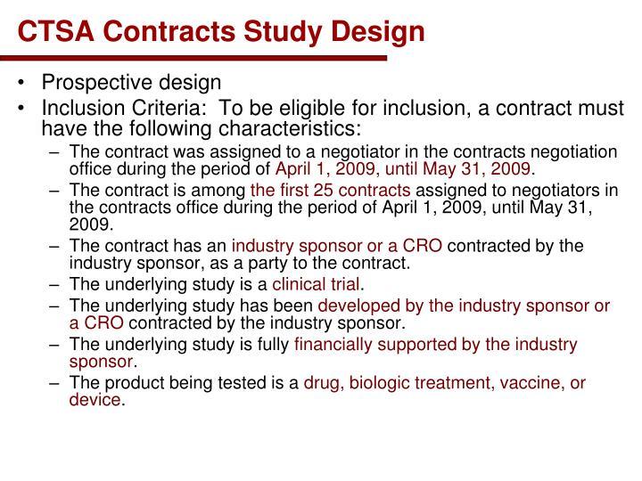 CTSA Contracts Study Design