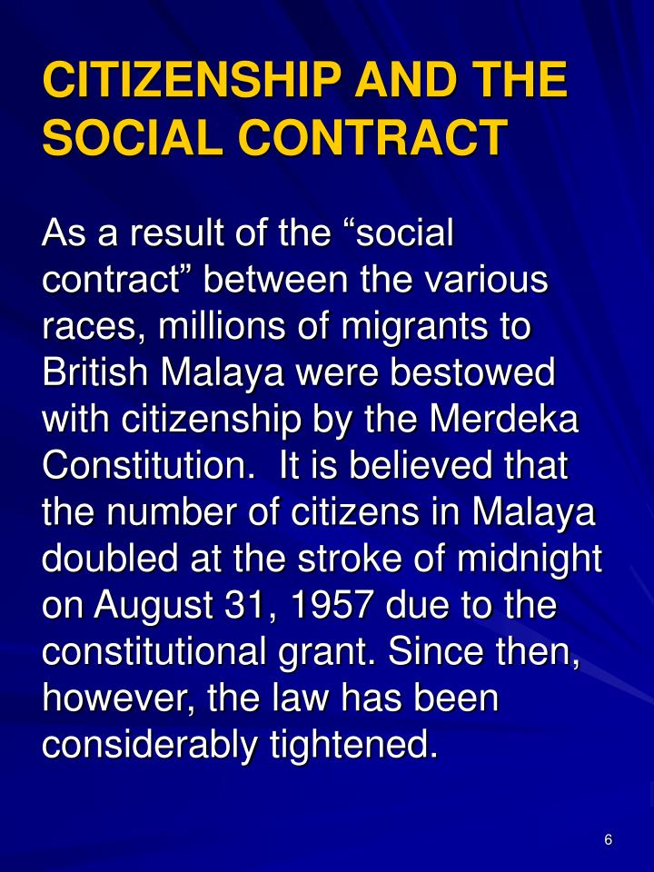 CITIZENSHIP AND THE SOCIAL CONTRACT