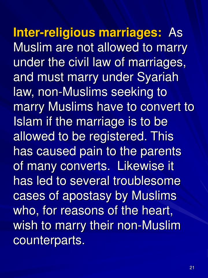 Inter-religious marriages: