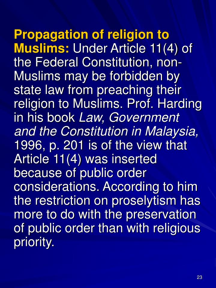 Propagation of religion to Muslims: