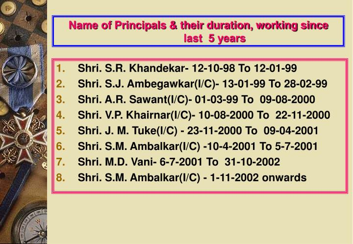 Name of Principals & their duration, working since