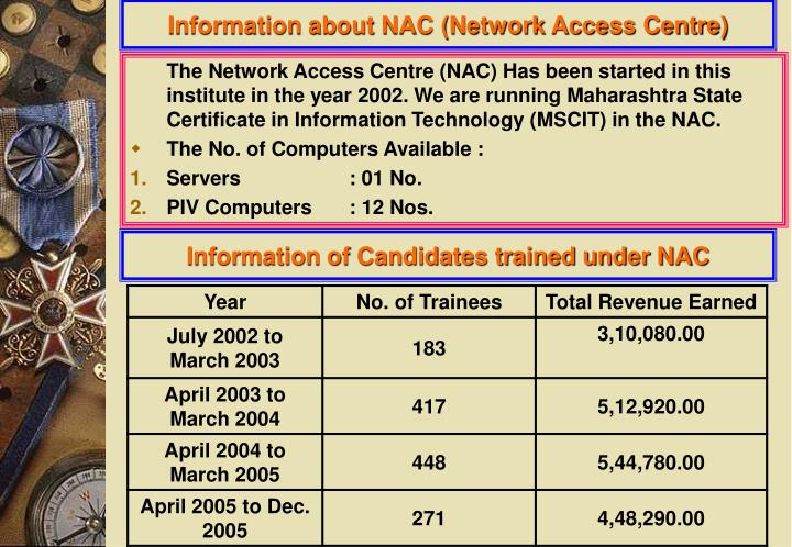 Information about NAC (Network Access Centre)