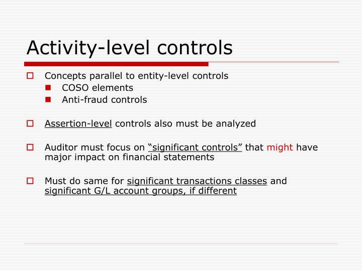 Activity-level controls