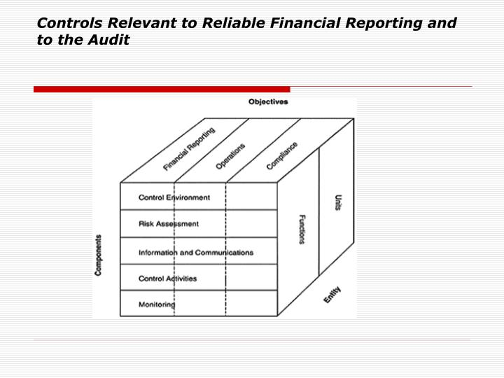Controls Relevant to Reliable Financial Reporting and to the Audit