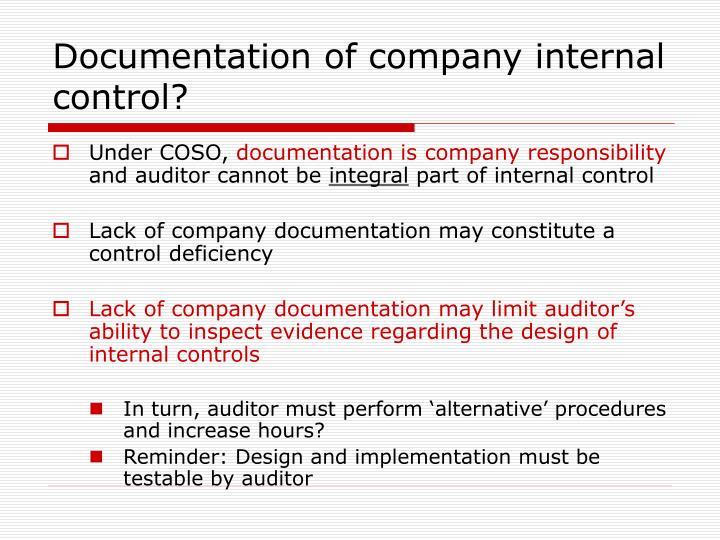 Documentation of company internal control?