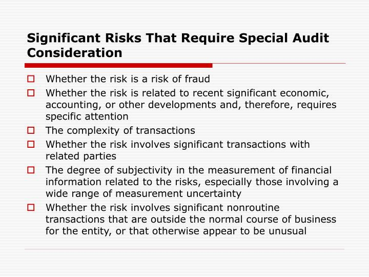 Significant Risks That Require Special Audit Consideration