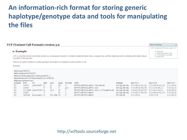 An information-rich format for storing generic haplotype/genotype data and tools for manipulating the files