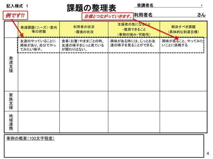 課題の整理表