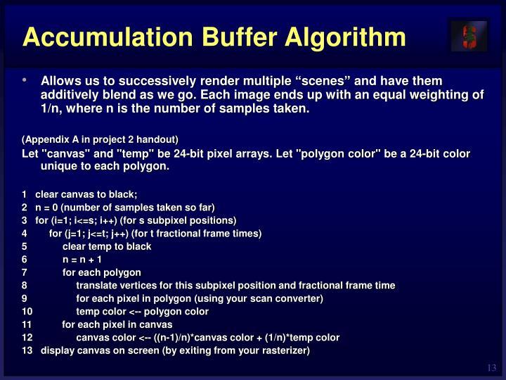 Accumulation Buffer Algorithm