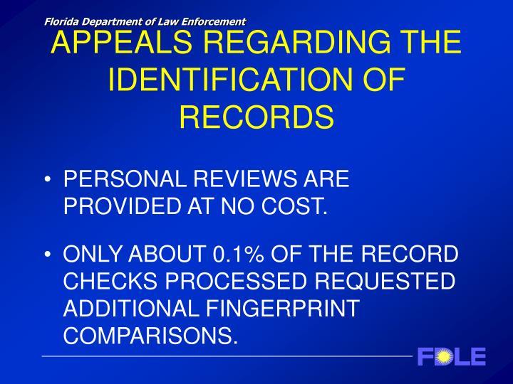 APPEALS REGARDING THE IDENTIFICATION OF RECORDS
