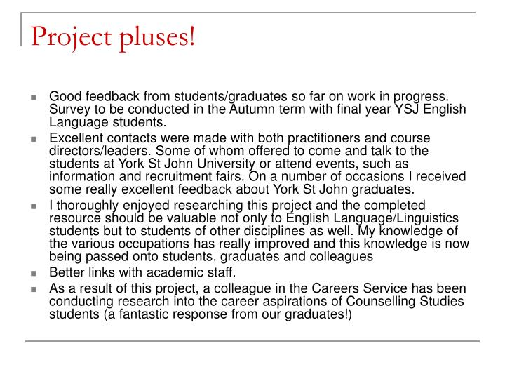 Project pluses!
