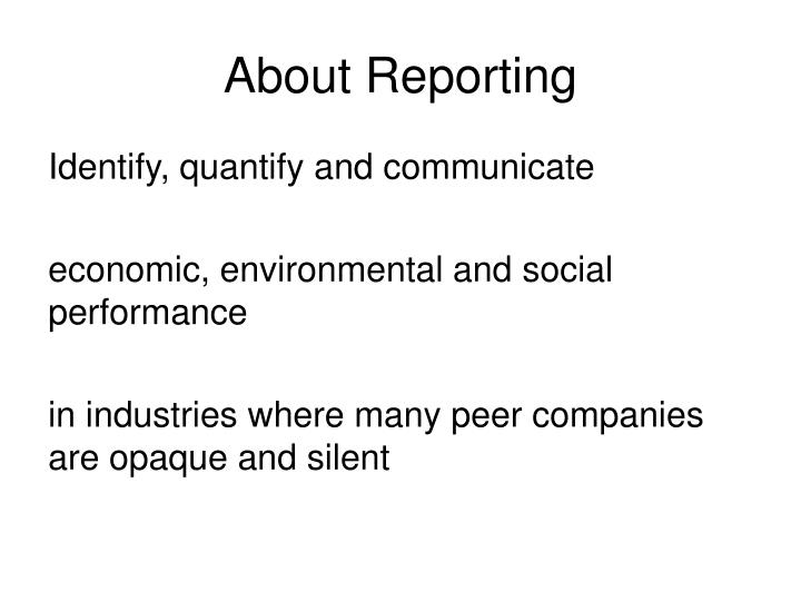 About Reporting
