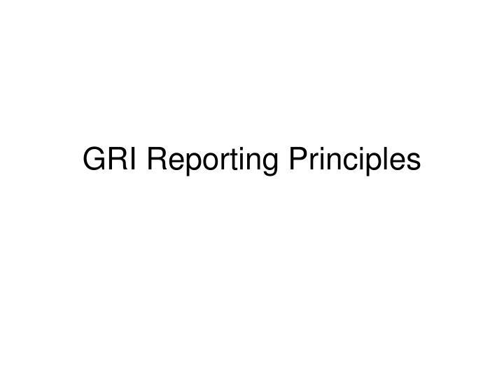 GRI Reporting Principles