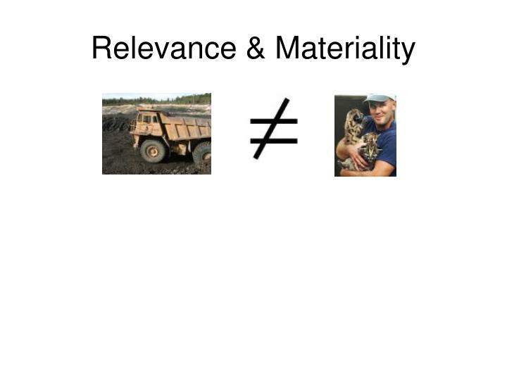 Relevance & Materiality