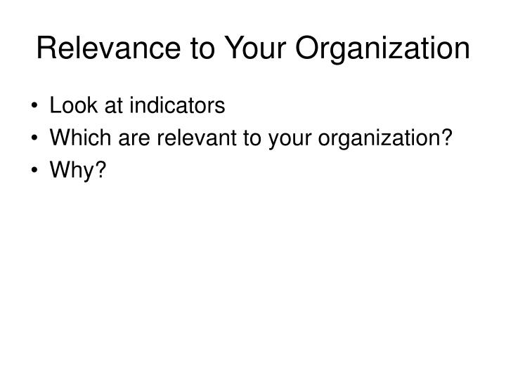 Relevance to Your Organization