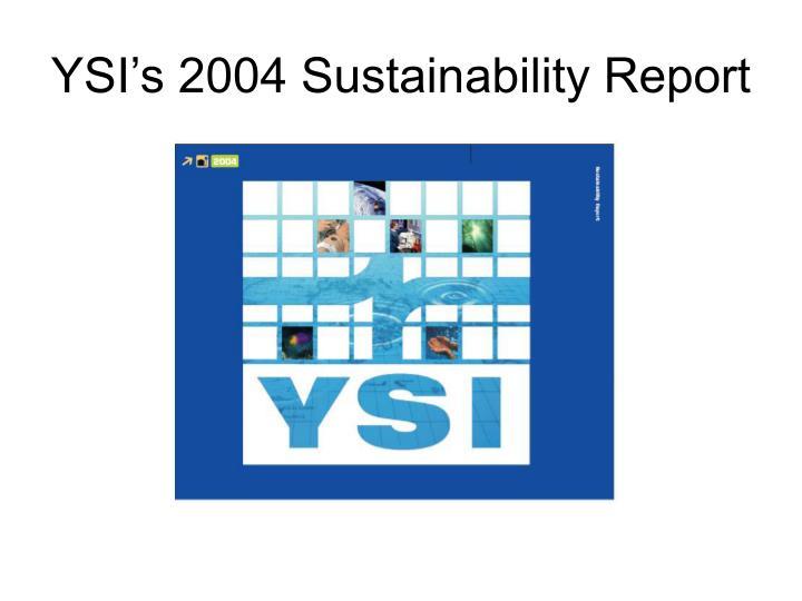 YSI's 2004 Sustainability Report