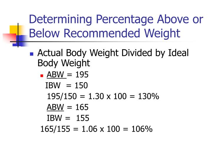 Determining Percentage Above or Below Recommended Weight