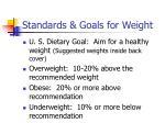 standards goals for weight