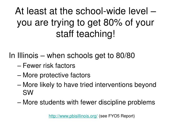 At least at the school-wide level – you are trying to get 80% of your staff teaching!