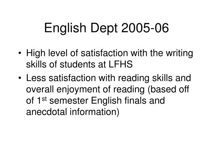 English Dept 2005-06