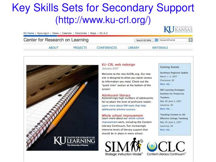 Key Skills Sets for Secondary Support