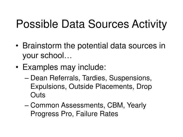 Possible Data Sources Activity