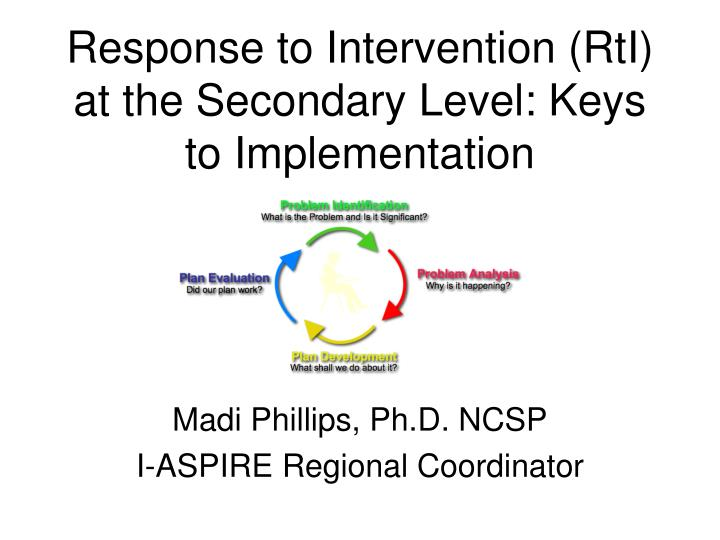 Response to intervention rti at the secondary level keys to implementation