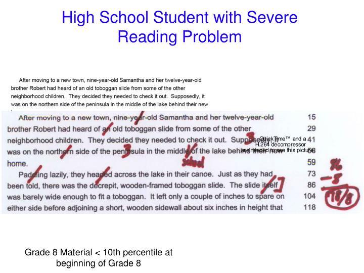 Grade 8 Material < 10th percentile at beginning of Grade 8