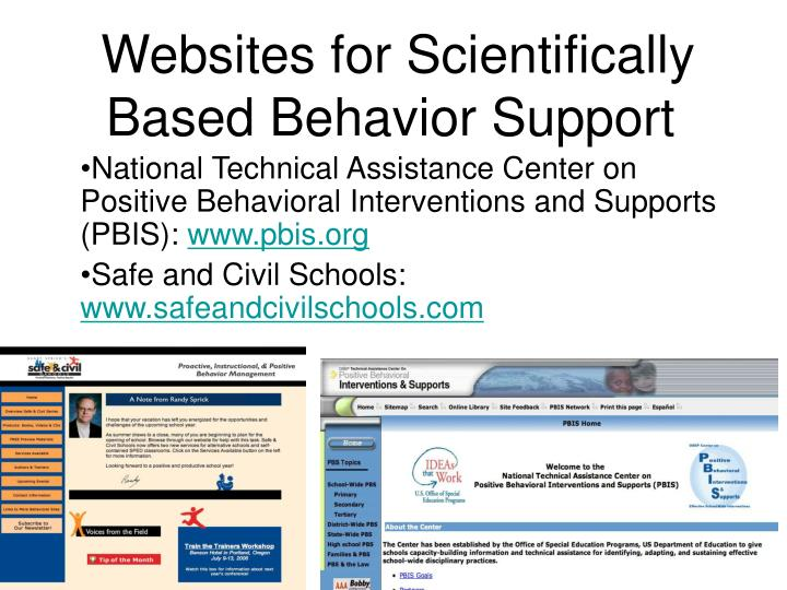 Websites for Scientifically Based Behavior Support