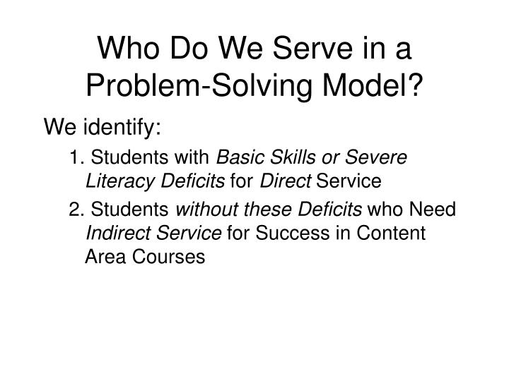 Who Do We Serve in a Problem-Solving Model?