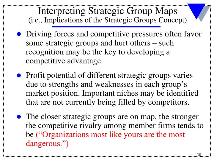 Driving forces and competitive pressures often favor some strategic groups and hurt others – such recognition may be the key to developing a competitive advantage.