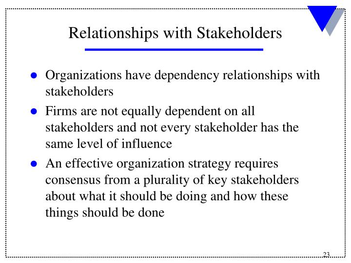 Organizations have dependency relationships with stakeholders