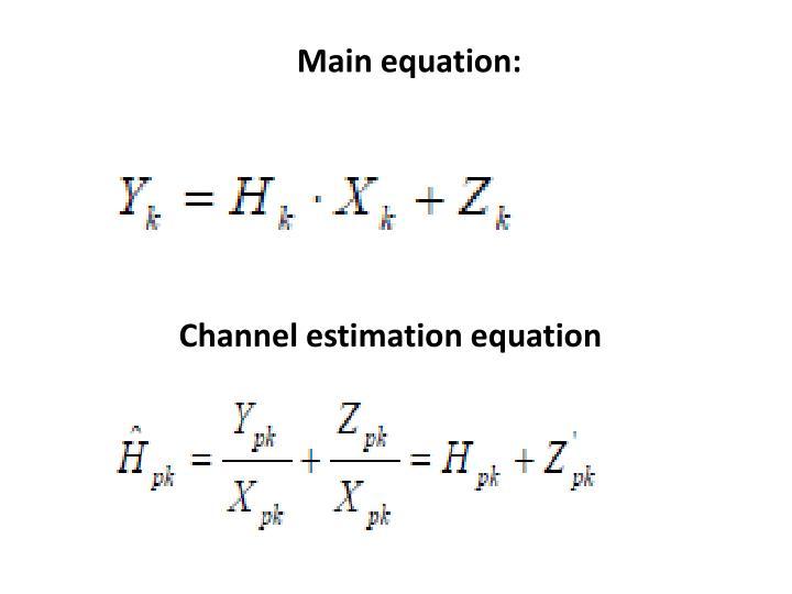 Main equation: