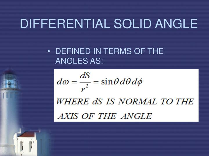 DIFFERENTIAL SOLID ANGLE