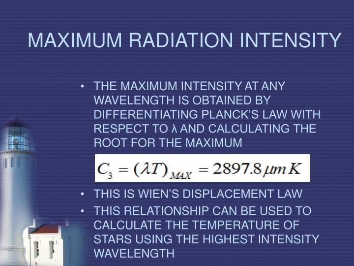 MAXIMUM RADIATION INTENSITY