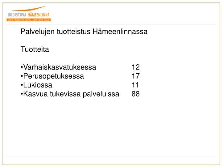 Palvelujen tuotteistus Hämeenlinnassa