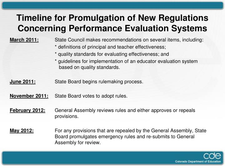 Timeline for Promulgation of New Regulations Concerning Performance Evaluation Systems