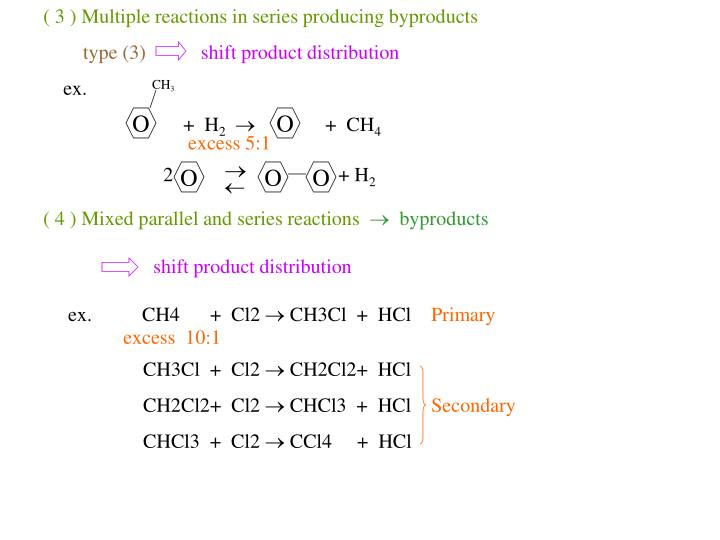 ( 3 ) Multiple reactions in series producing byproducts