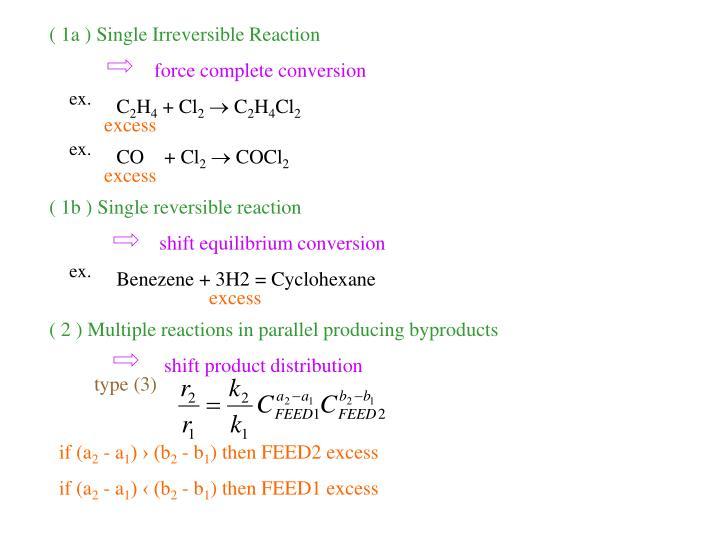 ( 1a ) Single Irreversible Reaction